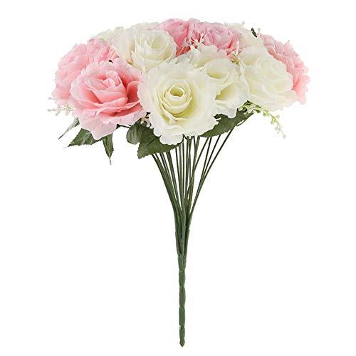 Ueb 24 teste/bouquet di fiori artificiali seta bicolor rose finte per decorazioni fiori finti diy decorazione per matrimonio festa casa (rosa+bianco)