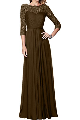 Charmant Damen Royal Blau Spitze langarm Abendkleider Brautmutterkleider ballkleider A-linie Braun