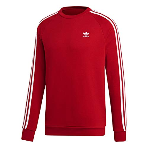 Red Classic Logo Pullover (adidas Herren 3-Stripes Crew Sweatshirt, Power red, XS)