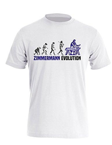Zimmermann Evolution Cooles Geschenk für Zimmerer Herren Rundhals TShirt  Weiss/Schwarzblau