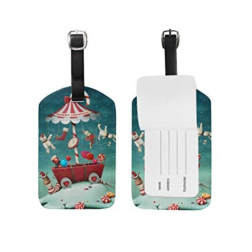 Candy Umbrella Snow Winter Luggage Tags Travel Bag Tag 2 Pieces Set (Snow White Princess Fashion Set)