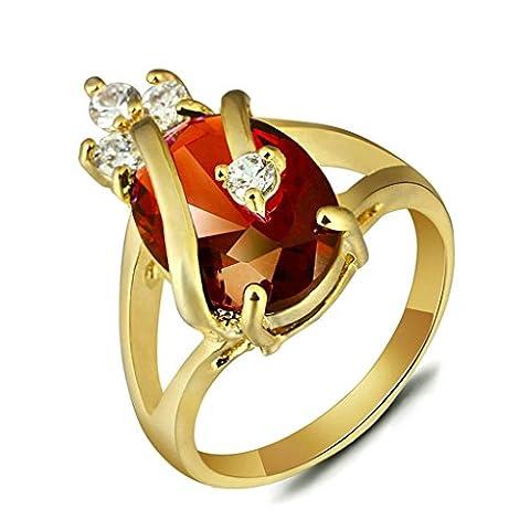 BeyDoDo Modeschmuck Versilbert Ring Damen Krone Wassertropfen Kristall Zirkonia Damenring Ehering Verlobungsring Ringe Gold Rot Größe 54 (17.2)