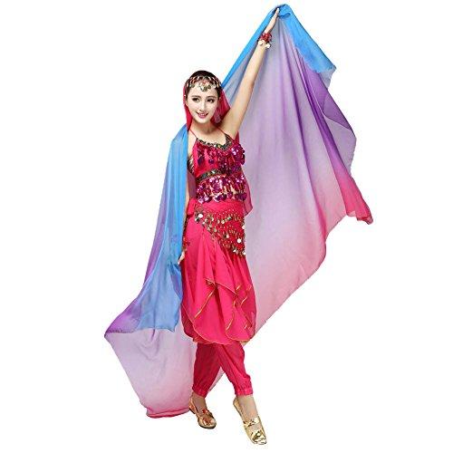 Doubleer Gradient Veil Schal Gesicht Schal Wrap Schal Frauen Bauchtanz Kostüm