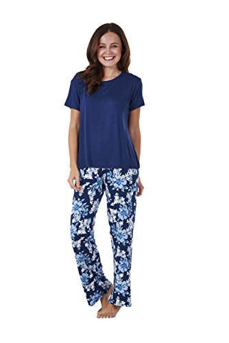 Ladies Soft Pyjama Set Womens Short Sleeve Floral Loungewear Spots Nightwear