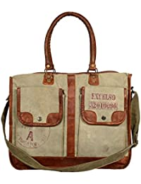 Priti Vintage Design ARMY Canvas Leather Bag Travel Bag Office Bag Everyday Bag Perfect Gift For Him Her
