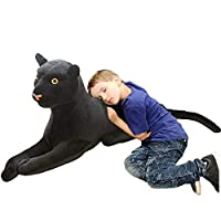 FGTLJ Black Leopard Plush Realistic Panther Stuffed Animals Simulation Toy/Medium19.7inch, Lifelike Plushie Pet, Kids Children Boy Birthday Xmas Holiday Creative Gifts.