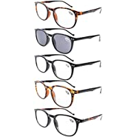 3e0fb310ca6 Eyekepper 5-Pack Spring Hinges80 s Reading Glasses Includes Sunshine Readers  +0.75