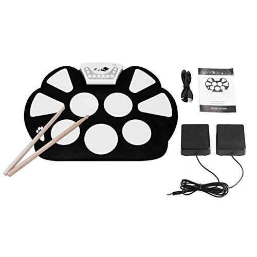 Sunnyflowk W758S Tragbare 9 Pads Digital USB Roll-up Faltbare Silikon-E-Drum-Pad-Kit Mit Drumsticks Fußpedale (schwarz & weiß)