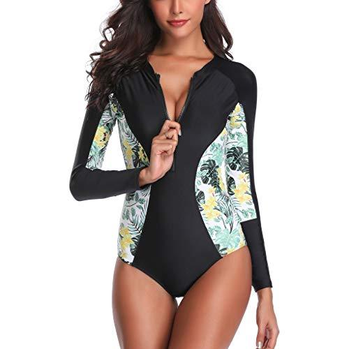 iYmitz Damen Solide Sonnencreme Surfanzug Schwimmen Push-Up Gepolsterter Trägerlosen Wasserdichter BH Badeanzug(Grün,EU-38CN-L)