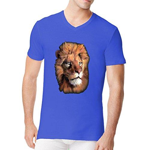 Fun Männer V-Neck Shirt - Fotorealistischer Löwenkopf by Im-Shirt Royal