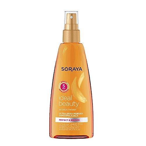 Soraya ideal beauty autoabbronzante spray ultra leggero per viso e corpo, per un'abbronzatura dorata e perfetta