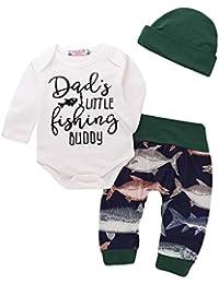 JYC Conjuntos para niñas,Ropa para Chicas,Bebé Chicos Niña Carta Impresión MamelucoTiburón Impresión Pantalones y Sombrero Conjuntos
