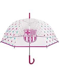 Paraguas Transparente Barcelona para Mujer - Sombrilla Larga con Escudo Original de Barça y Corazones -
