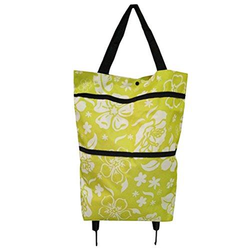 BESTOMZ Zusammenklappbare Einkaufstasche mit Rädern Einkaufstrolley Trolley Taschen Faltbare Warenkorb fahrbare Einkaufstasche Reisetasche (grüne Blätter) (Einkaufstasche Rädern Mit Faltbare)
