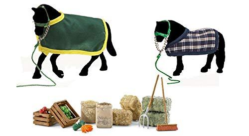 Schleich. Pferdepflege-Set 3er-Set (Futter + Decke & Halfter für Pferd und Pony)