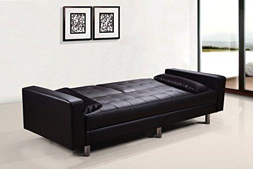 Divano Nero Ecopelle : Frizzo divano letto contenitore 220x81cm ecopelle nero 3 posti