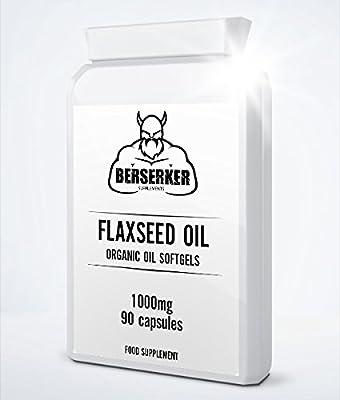BERSERKER Organic Flaxseed Oil 1000mg Softgels | Omega 3-6-9 | Free UK Delivery by Berserker