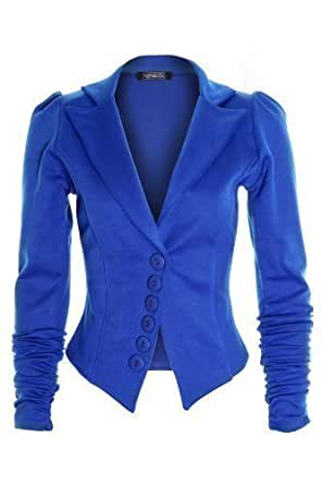 New Ladies Fitted Ruched Sleeve 6 Button Coloured Blazer Jacket Coat for Women - 14 - Blue