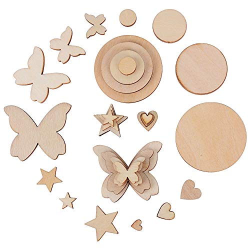 JNCH 200pcs Natural Wooden Craft Cutout Star, Love Heart, Butterfly, Round Shapes for DIY Wedding Decoration Ornaments Craft