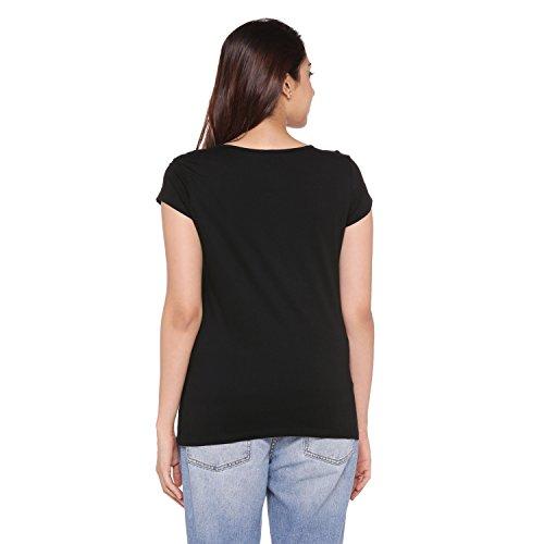 Ajile by Pantaloons Women's Tribal Regular Fit T-Shirt (Pack of 2) (1100335_NAVY MEL-BLACK_S)