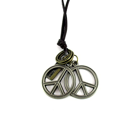 Streetsoul Double Peace Pendant Antique Silver With Leather Adjustable Necklace For Men.