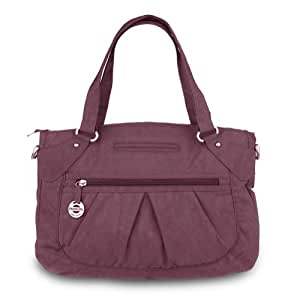 Travelon Crinkle Nylon Double Handle East/West Satchel Bag (Berry)