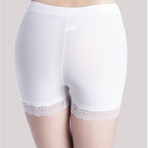 Dihope Damen Sommer Ultra Dünn Sicherheithose Unterwäsche mit Spitze Boxershort Nahtlos Unterhose Panties Hipsters Weiß