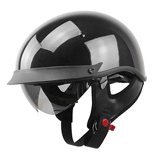 MagiDeal 1 Stück Motorradhelm Sturzhelm Halb Offener Hell Schwarz Helm Ofenes Gesicht Motorradfahren Halbhelm für Harley - Schwarz - XXL