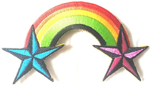 Bügel Iron on Regenbogen Patch-Aufnäher-Applikation-Patches-Sticker-ei groß Jeans-Jacke-n Regenbogen gestickt bestickt 8,5 cm