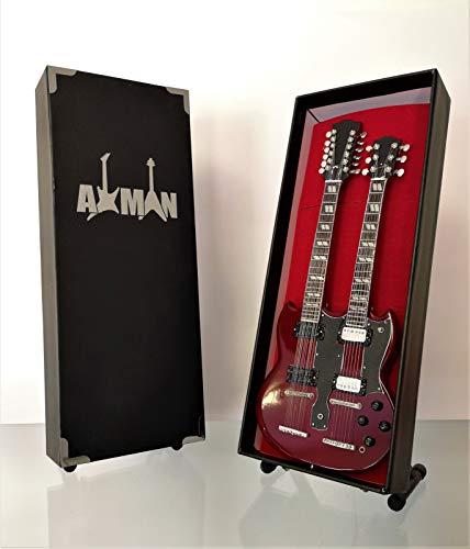 Miniatura Guitarra Replica: Jimmy Page 1970s Gibson EDS-1275doubleneck-Modelo Mini Rock Memorabilia réplica de madera miniatura guitarra & Libre Pantalla Soporte (vendedor de Reino Unido)