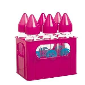 dBb Remond Porte-Biberons + 6 Biberons Verre - Tétine Nn - Silicone - Système Rose Translucide - 240 ml
