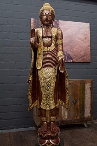 Thailand Buddha-statue (Buddha Statue, Stehend, Holzbuddha aus Gold, Skulptur des Buddha aus Thailand, Handarbeit mit vielen Verzierungen, Großer Buddha in Rot mit Blattgold belegt, Lebensgroße Buddhas aus Massivholz, 170 cm)