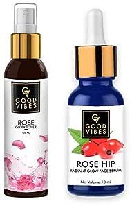 Good Vibes Rose Glow Toner - 120 ml - Anti Ageing, Nourishing and Good Vibes Radiant Glow Face Serum - Rose Hip - 10 ml - Light Weight Hydrating Formula for Skin Brightening