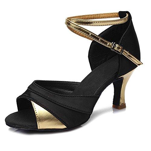 YFF Ragazze donne sala da ballo del tango latino della salsa scarpe da ballo 5cm e 7cm 7CM Black Gold