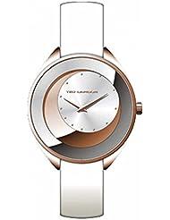 Ted Lapidus - A0629UBPF - Montre Femme - Quartz Analogique - Cadran Blanc - Bracelet Cuir Blanc