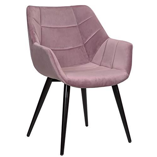 WOLTU Esszimmerstühle BH148rs-1 1x Küchenstuhl Wohnzimmerstuhl Polsterstuhl mit Armlehen Design Stuhl Samt Metall Rosa