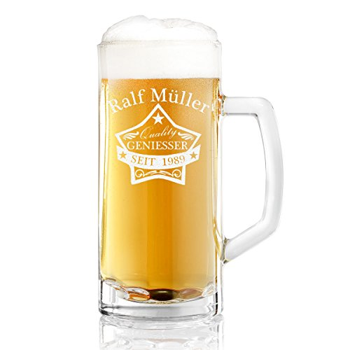 Bierkrug mit Gravur eines Namens und Jahreszahl – Bierseidel mit Motiv Quality Stern 0,3l