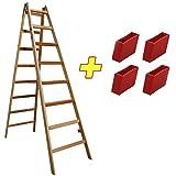 Holzleiter Massivholz 2x8 Stufen 48AW208 + 4 x Kunststofffüße