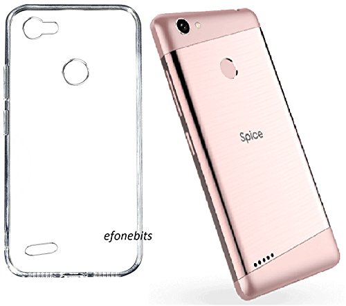 Efonebits(TM) Clear Case Ultra Transparent Silicone Gel Cover for Spice F302 (Transparent)