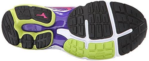 Mizuno Wave Rider 18 Synthétique Chaussure de Course Purple-Dark Pink- Neon Green