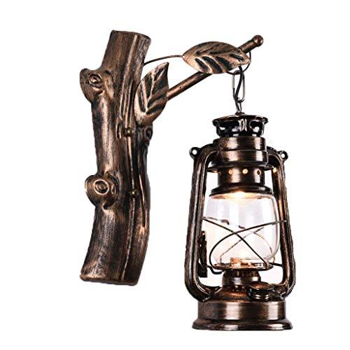 Amter lampada da parete retro, lampada da parete lanterna retrò loft nostalgia ferro scale rete di corridoi barra gamma cafè decorato lampada da parete,bronze