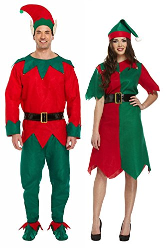 Hohe Qualität Erwachsene Paar Kostüm Damen & Herren Paare Fancy Kleid Santa Helper Santa Elf Deluxe Weihnachten Outfits Mega Deal von ()