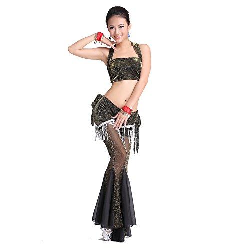 Tanz-Outfits Tanzkleidung Bauchtanz -Kostüm-Set Silver-Flash Sleeveless Tops & Fishtail Pants (Dance Kostüme Flash)
