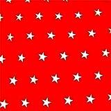 Rot Sterne 100% Baumwolle Baumwollstoff Kinderstoff Meterware Handwerken Nähen Stoff 100x160cm 1 Meter (Sterne Rot Weiß)