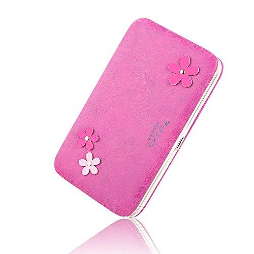 BIG SALE- 40% OFF -Woolala Phone Clutch Wallet Multi-pattern Iphone Samsung Phone Wallet Case with Wristlet, GeometryBlack FlowersRose