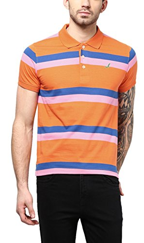 American Crew Mens Polo (Ac202-L _Orange, Pink & Blue _Large)  available at amazon for Rs.299