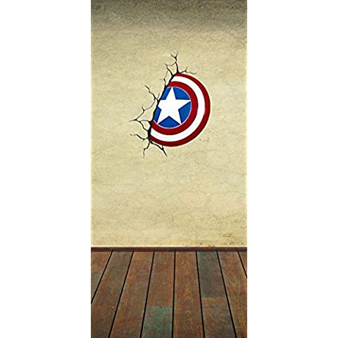 Capitán América escudo diseño 3d niños de vinilo autoadhesivo adhesivo decorativo para pared