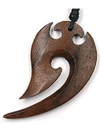 De madera hecho a mano maorí - métrica 5 cm la longitud set de limpieza para espadas en. Negro Cordón de algodón colgante de madera