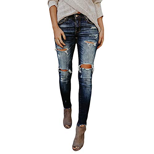 SuperSU Damen High Waisted Skinny Jeans mit Mittlerem Bund und Rissen Frauen Denim Jeans Stretch Slim Hosen Kalb Länge Jeans Boyfriend Hose Cotton Stretch im Jogging Basic Fit Pant -