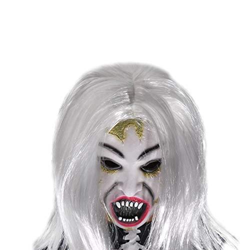 Scharfe Zähne Kostüm - Lumanuby 1x Schrecklich Weiße Haare Damen Geist Mask aus Latex Gesichtsmaske von Hässliches Gesicht und scharfer Zahn Cosplay Werkzeuge für Maskerade Parteien Oder Kostüm Partys
